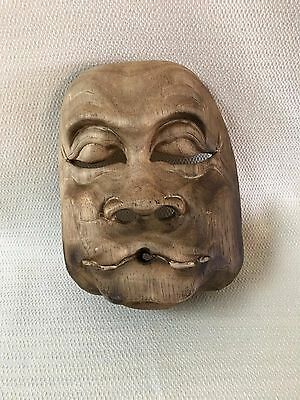 Vintage Wooden Asian Theater Mask Wall Art #2 Wood Hand Carved  OOAK