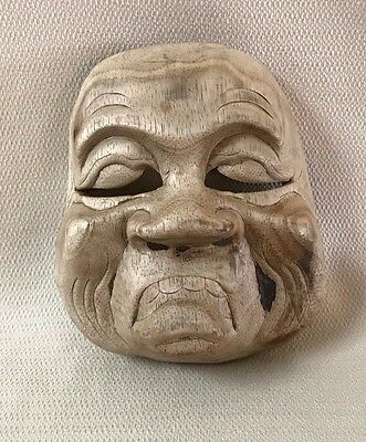 Vintage Wooden Asian Theater Mask Wall Art #6 Wood Hand Carved  OOAK