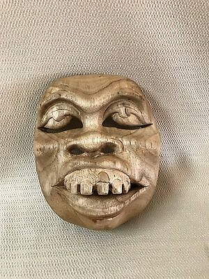 Vintage Wooden Asian Theater Mask Wall Art #8 Wood Hand Carved  OOAK