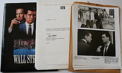 "Rare 1987 Wall Street Official Press Kit w/6 8x10"" Movie Stills Michael Douglas"