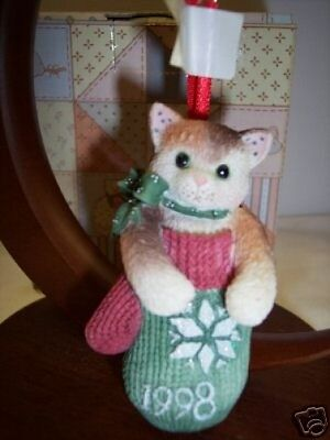 Calico Kittens MITTEN Dated '98 Ornament 359645~ NIB ** FREE 1st CLASS SHIP USA