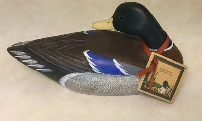 Wooden Duck Decoy By Cottage Decoys/ Signed/ Resting Mallard