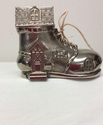 Vintage Silver Plate Metal Old Shoe House Boot Figurine Piggy Bank