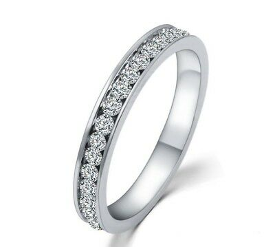 Women's Stainless Steel AAA CZ Eternity Anniversary Wedding Ring Band Size 5-10