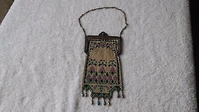 Mandalian antique flapper purse mesh with enamel and purple flowers and beads