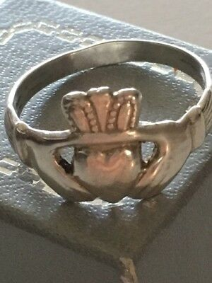Sterling Silver Men's Claddagh Ring Irish Celtic Trinity Band Custom made 9.75