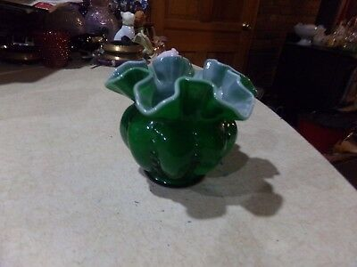 Fenton Glass Beaded Melon Emerald Green Ruffled Vase