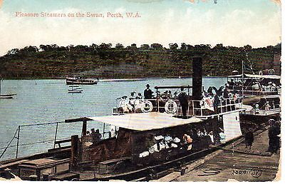 Torrens Steamer on the Swan Perth, Western Australia Antique Postcard 1900's