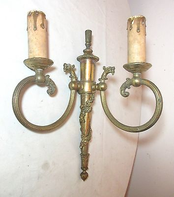 antique ornate figural griffin gilt bronze brass electric wall sconce fixture