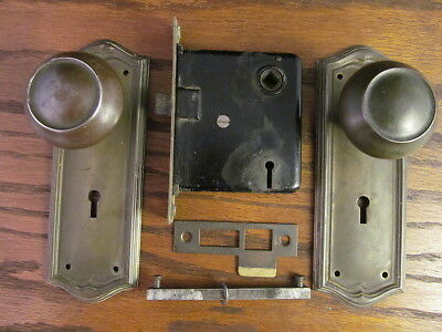 Original Antique Door Lock Set Backplates  Strike Plate Knobs Brass Over Steel