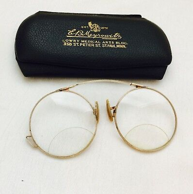 Antique12K GOLD Filled AO Framed Pince Nez Spectacles with Case