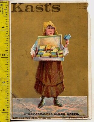 1880s Victorian Trade Card Kast's Fashionable Shoes 738 Market St. San Francisco