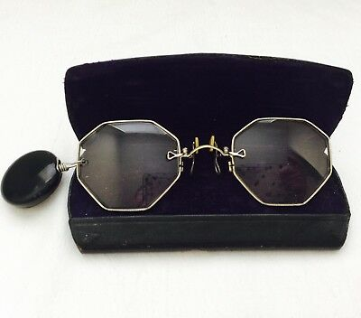 Antique 12K Gold Filled Pince Nez ART DECO Octagon Spectacles  Retractable Pin