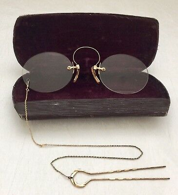 ANTIQUE Gold Tone / Filled? PINCE NEZ SPECTACLES with Hairpin Chain & Case