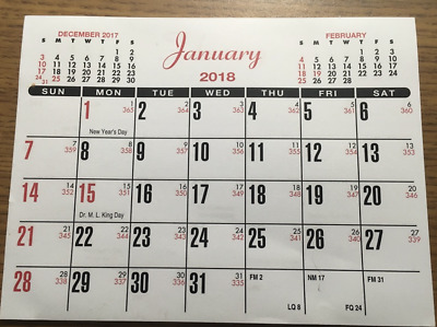 "TEAR OFF 2018 CALENDAR SMALL 6"" x 4-1/2"""" WALL POCKET PURSE OFFICE SCHOOL"