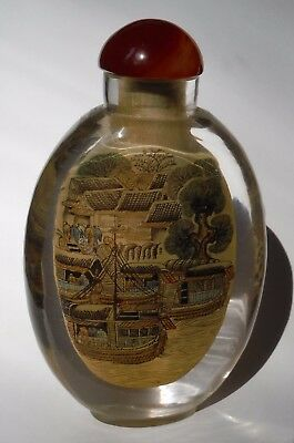Vintage Asian Glass Snuff Bottle 2 Sided Crowded City & Waterway Scenes