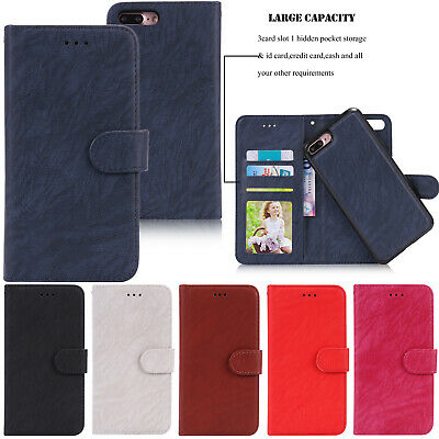 Detachable Magnetic Wallet Leather Card Stand Cover Case For iPhone X 6/7/8 Plus