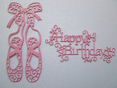 Ballet Shoe & Happy Birthday Paper Die Cuts x 4 Sets Scrapbooking Card Topper