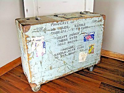 Vintage Retro Shabby Chic Steamer Railroad Trunk Wood and Metal Hardware