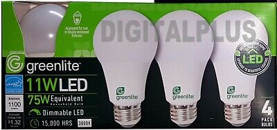 32 LED Light Bulbs GREENLITE 9W / 60W Equivalent Bright White 3000K A19 Dimmable