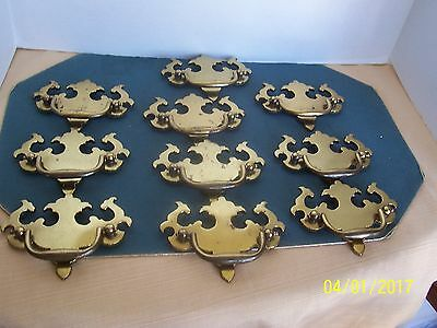 KBC 8648 Solid Brass Colonial Chippendale Draw Pulls 10 ea Handle Dresser Chest