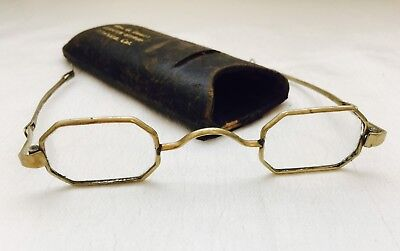 Antique Brass/ GOLD Tone? CIVIL WAR FRANKLIN Looking SLIDING TEMPLES Spectacles