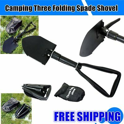 Carbon Steel Three Folding Spade Shovel Camping Portable Survival Tool AU