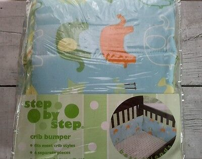 New Step By Step Baby Crib Bumper - Animals Best Friends - Elephant Birds Fish