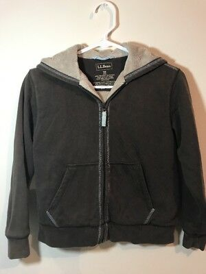 Youth L.L Bean Lined Hoodie Jacket Size 8 Boys Girls Brown
