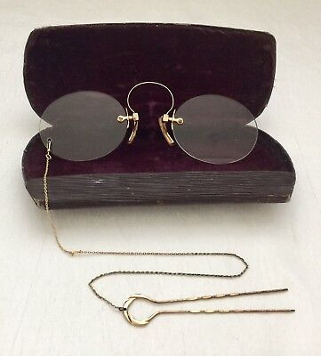 ANTIQUE Gold Tone/ Filled? Spring Bridge PINCE NEZ. Spectacles +Hairpin Chain