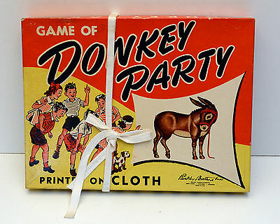 Vintage Donkey Party Pin the tail on the Donkey Parker Brothers Game