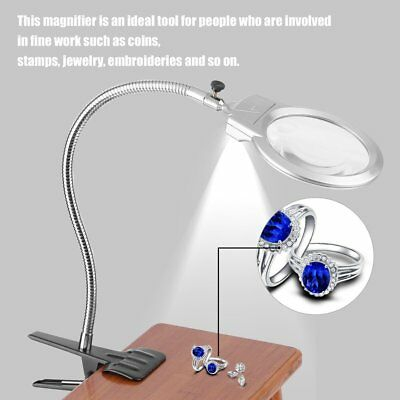 Clip Lighted Table Top Desk Magnifier Lamp LED Light Magnifying Glass w/ Clamp H