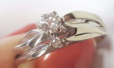 14K White Gold Vintage Diamond Wedding Set Engagement Ring Size 7.5
