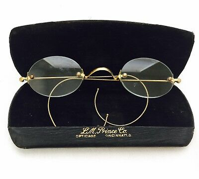 Antique GOLD Tone / Filled? Civil War Looking Saddle Bridge SPECTACLES with Case