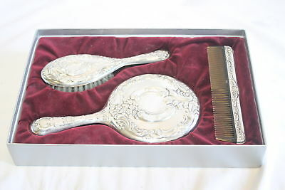 Antique Wallace Sterling Silver Vanity Set Hand Mirror Hair Brush & Comb 370g