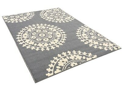 5 X 7 Rubber Backed Non Slip Grey Ivory Color Medallion Design