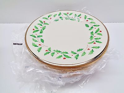 8 LENOX ~ Christmas HOLIDAY DINNER PLATES 10 3/4 INCHES UNUSED