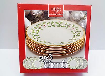 6 LENOX ~ Christmas HOLIDAY SALAD PLATES 8 INCHES ~ New in Box