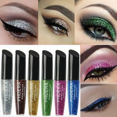 10 Color Waterproof Shimmer Eyeshadow Glitter Liquid Eyeliner Metallic Cosmetics