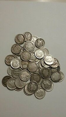 Silver dime roll mixed roosevelt, mercury and barbers, 50 coins.