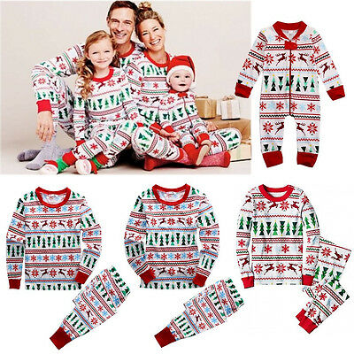 Family Matching Christmas Pajamas Set Snowflake Women Kids Sleepwear Nightwear