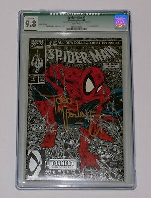 Marvel Spider-Man #1 Cgc 9.8 Silver Edition 1990 Signed By Todd Mcfarlane