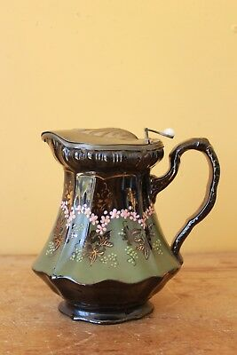 Antique Victorian,  Pewter lidded water jug. W & Co, B  Gadroon.