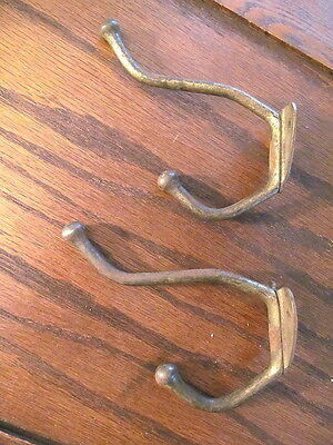 2 Large Vintage Coat Hat Hooks Old Rustic Antique Farm House School Brass Finish
