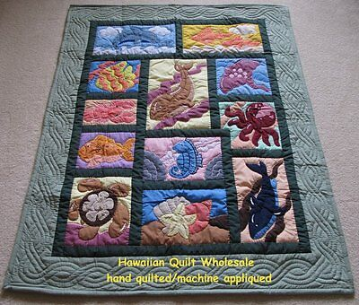 Hawaiian STYLE QUILT BABY BLANKET hand quilted wall hanging UNDERSEA GREEN