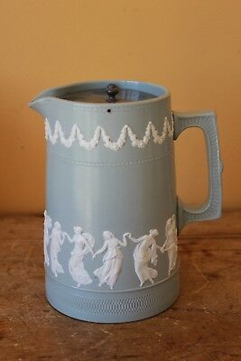 "Antique Copeland late Spode, ""Dancing Hours"" pitcher, jug. with pewter lid."