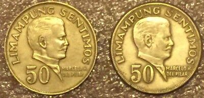 2-Coin Lot, 1972  & 1974  Philippines 50 Sentimos, in Great Condition.