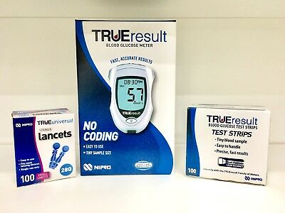 NEW TrueResult Blood Glucose Meter PLUS Box of Test Strips PLUS Box of Lancets
