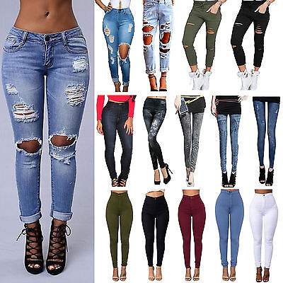 Women Ripped Knee Jeans Pants Denim Slim Stretch Trousers Skinny Elastic Jegging