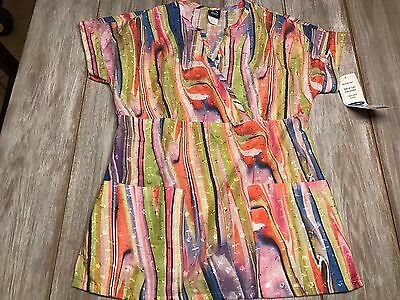 Women's Multi Color Barco Scrub Top Size Extra Small